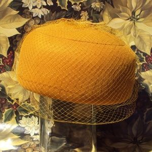 Vintage Mustard Veiled Pillbox Hat Sears Millinery